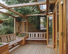 Out of all the outdoor spaces available in your house, people usually have their favorite one. It might be the front porch, the backyard, or even the deck. Deck Seating, Built In Seating, Deck Benches, Wall Seating, Outdoor Deck Decorating, Outdoor Decor, Outdoor Ideas, Gazebo On Deck, Pergola Swing