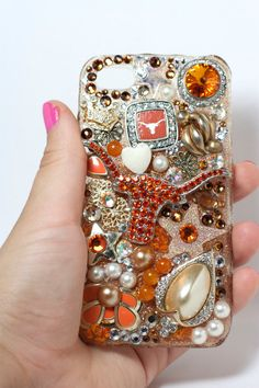 University of Texas Longhorn Crystal iPhone 4 Cell Phone Cover. Can make it yourself on any phone case cover. Cell Phone Covers, Cute Phone Cases, Iphone Cases, Iphone 4, Texas Longhorns Football, Ut Longhorns, Hook Em Horns, Texas Pride, Lone Star State