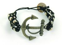 Black/Silver Anchor Icon Bracelet. Super trendy and great for all ages! #wrap #bracelets #beads #fashion #fun #style #accessorize #skull #beads #CalypsoStudios