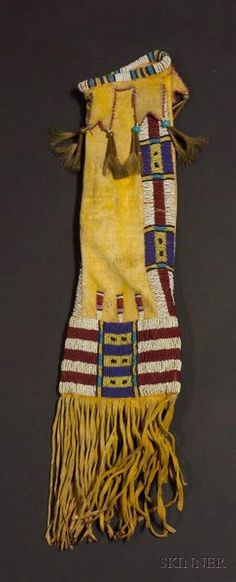 Central Plains Beaded Hide Pipe Bag, Cheyenne, c. last quarter 19th century,