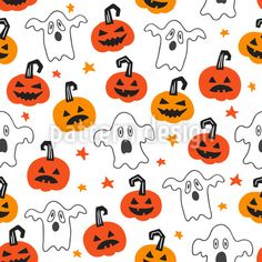 Scary Pumpkins And Ghosts Repeat Pattern Vector Pattern, Pattern Design, Halloween Vector, Scary Pumpkin, Repeating Patterns, Ghosts, Surface Design, Pumpkins, Snoopy