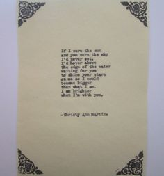 Romantic Vintage Typewriter poetry - Gift for Anniversary Engagement or Wedding by Christy Ann Martine - $10.00