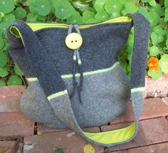 Lime Green and Gray Upcycled Sweater Bag by FiberLingo on Etsy, $48.00