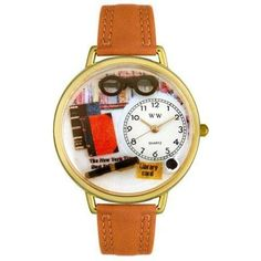 Whimsical Unisex Book Lover Tan Leather Watch