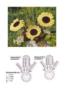 Hola amigas hoy venimos a compartirles muchos patrones de estas preciosas flores que son los girasoles ,te invitamos a tejer en crochet est...
