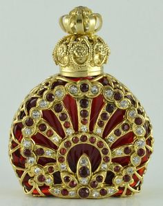 Old gold tone filigree red crystal stones perfume bottle