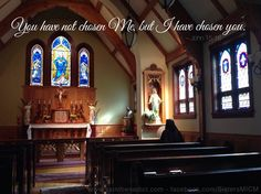 """""""You have not chosen Me, but I have chosen you."""" ~John 15:16 Sisters, Slaves of the Immaculate Heart of Mary; Saint Benedict Center, Still River Ma. www.saintbenedict.com facebook.com/SistersMICM"""