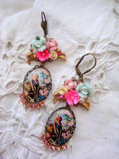 Oiseaux de boucles d'oreilles vintage aux couleurs par rosebijoux