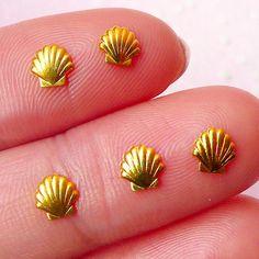 Mini Seashell Sea Shell Cabochon (5pcs) (5mm / Gold Plated) Fake Miniature Cupcake Topper Mini Seashell Nail Art Nail Decoration NAC131 on Etsy, $1.99