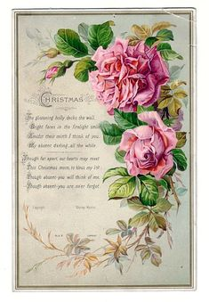 Pink roses with old Christmas poem