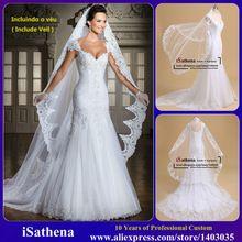 Diseñador de encaje apliques escote V mangas casquillo de la sirena de los vestidos de boda elegantes Vestidos de novia Vestido de Noiva 2015 i0086(China (Mainland))