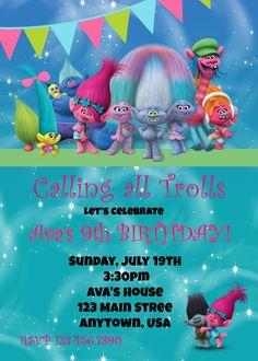 Trolls Birthday Invitation