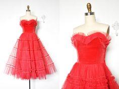 Vintage 1940's/1950's Raspberry Sorbet Velvet and by BombyxVintage
