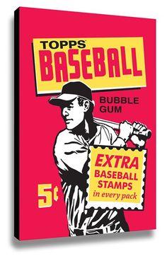 LAMP-IN-A-BOX 'Topps Baseball 1961 Bubblegum Wrapper' Wall Art