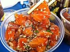 Ahi isn't the only fish you can make poke with. Look for Salmon Poke when trying local favorites.