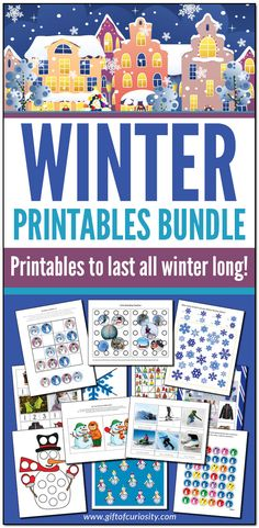 The Winter Printables Bundle features more than 400 pages of printable winter activities. Ideal for kids ages Perfect for learning all winter long! Winter Activities For Kids, Creative Activities For Kids, Printable Activities For Kids, Kids Learning Activities, Montessori Activities, Holiday Activities, Preschool Kindergarten, Preschool Ideas, Snowman Coloring Pages