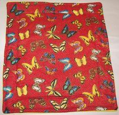 """Butterflies Fleece Guinea Pig Lap Pad Bed Rabbit Ferret Hedgehog Rat 15"""" x 17''"""