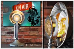 Industrial Upcycled D104 Antique Astatic Microphone Repuprosed Retro Table Lamp