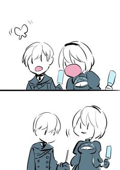 NieR: Automata ♥ and ♡ Get Paid To Play Games Today!Get Paid to test new and unreleased games Drakengard Nier, Baguio, Cute Chibi, Atticus, Cute Anime Couples, Manga Games, Game Character, Funny Images, Cute Art