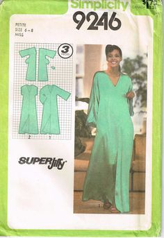 9246 simplicity Misses jiffy pullover caftan with kimono sleeves, pocket, and sleeves sewing pattern size 6, 8 bust 30.5 31.5 vintage 1970s on Etsy, $17.78