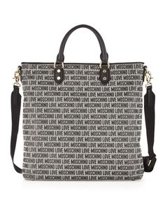 Logo Jacquard Tote Bag, Black by Moschino at Last Call by Neiman Marcus.