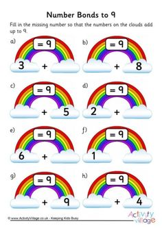 Rainbow Number Bonds Worksheet to 9