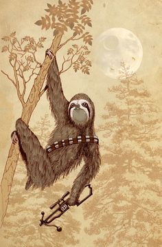 Artist Nanà Dalla Porta gave Chewbacca a real life redesign in this cute sloth themed Star Wars design Star Wars Film, Star Wars Art, Baby Sloth, Cute Sloth, Funny Sloth, Fantasy Star, Sci Fi Fantasy, Sloth Tattoo, Nerd Love