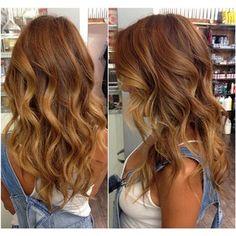 Light warm brown base w/ light honey blonde Balayaged ends