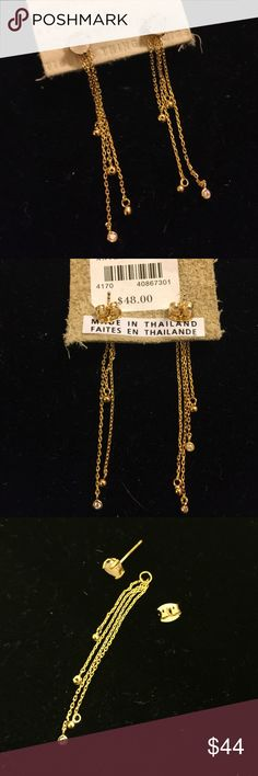"Anthropologie Gorgeous Two Piece Earrings These are special because they come apart to become a post earring or kick it up a notch and dazzle with the streaming gold chains that have tiny crystals at the end of each.  They are just stunning! 2"" drop with chains. Anthropologie Jewelry Earrings"