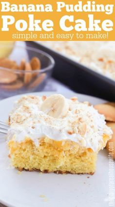 This Banana Pudding Poke Cake is so good! Made with box cake mix it's so easy to make. Healthy Banana Recipes, Delicious Cake Recipes, Easy Cake Recipes, Yummy Cakes, Dessert Recipes, Banana Pudding Poke Cake, Cakes Today, Types Of Cakes, Instant Pudding