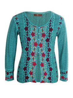 Jacquard Knit Embroidered Cardigan.