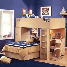 Kinderhochbetten Arbeitsplatz Blaues Kinderzimmer