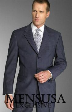 b095135245 Dark Navy With Small Pinstripe Super 140 s 100% Wool premier quality  italian fabric Suit. 3 Button SuitNavy ColorPinstripe ...