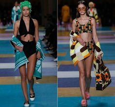 Раздельные купальники в стиле 70-х от Miu Miu Весна-Лето 2017 Ready to wear