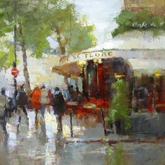 "Barbara Flowers, ""Cafe De Flore,"" Paris - 40x40, oil on canvas--at Principle Gallery"