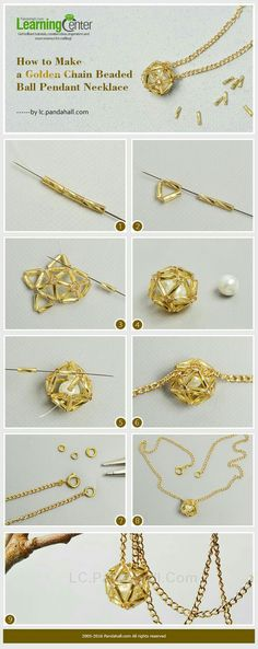 How to Make a Golden Chain Beaded Ball Pendant NecklaceBrush up on your wire wrapping skills and use this DIY wire wrapped pearl tutorial from PandaHall to create a beautiful pearl pendant.This Pin was discovered by ZulPandahall Usstock Beads, Beads Bead Jewellery, Seed Bead Jewelry, Wire Jewelry, Jewelry Crafts, Jewlery, Diy Schmuck, Schmuck Design, Do It Yourself Schmuck, Bugle Beads
