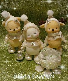 Polymer Clay Recipe, Polymer Clay Ornaments, Polymer Clay Crafts, Clay Bear, Diy Silicone Molds, Polymer Clay Christmas, Christmas Crafts, Christmas Ornaments, Cute Clay