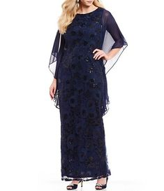 ea39bc334a4a1 Brianna Plus Size Sequin Embroidered Cascade Sleeve Column Gown Mob Dresses