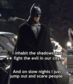 Funny pictures about Because he's Batman. Oh, and cool pics about Because he's Batman. Also, Because he's Batman. Book Art, I Am Batman, Funny Batman, Batman Stuff, Batman Humor, Nananana Batman, Don Juan, Dc Memes, Marvel Dc