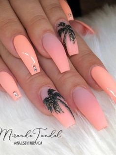 Awesome Acrylic Coffin Nails Designs In Summer - Nail Art Connect Summer Acrylic Nails, Best Acrylic Nails, Acrylic Nail Designs, Camo Nail Designs, Cute Simple Nails, Cute Summer Nails, Easy Nails, Spring Nails, Nail Swag