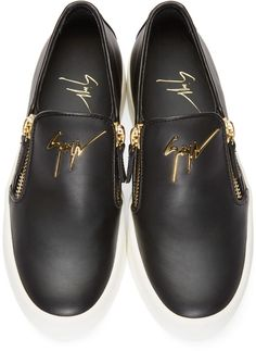 4f1844a3d34 Giuseppe Zanotti Black Leather Slip-On London Sneakers Giuseppe Zanotti  Shoes