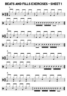 Sheet 1 - 40 Beats and Fills Exercises Grade - Learn Drums For Free Drum Sheet Music, Drums Sheet, Drum Notes, Learn Drums, Cajon Drum, Drum Patterns, Drums Beats, Reading Music, Drum Lessons