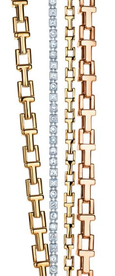 Tiffany T chain bracelets in 18k yellow gold and 18k rose gold with a diamond line bracelet. #TiffanyPinterest #TiffanyT