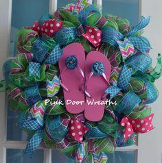 Made to Order  Wreath summer FLIP FLOPS flowers by PinkDoorWreaths