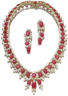 Impressive ruby and diamond demi-parure, French.