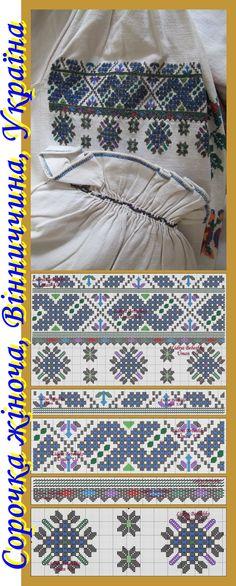 Вінниччина, Східне Поділля, Україна, поч. ХХ ст.: нарукавна вишивка жіночої сорочки