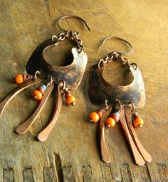 Patinated Copper Earrings Tribal African Trade by ChrysalisToo