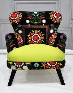 Patchwork armchair with Suzani and neon green velvet fabrics. $1,500.00, via Etsy.
