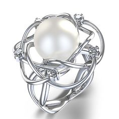 10-10.5 mm Freshwater Pearl Ring in 14K White Gold