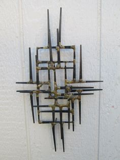 Vintage Metal Wall Art vintage metal wall art sculpture mid century modern nails orange